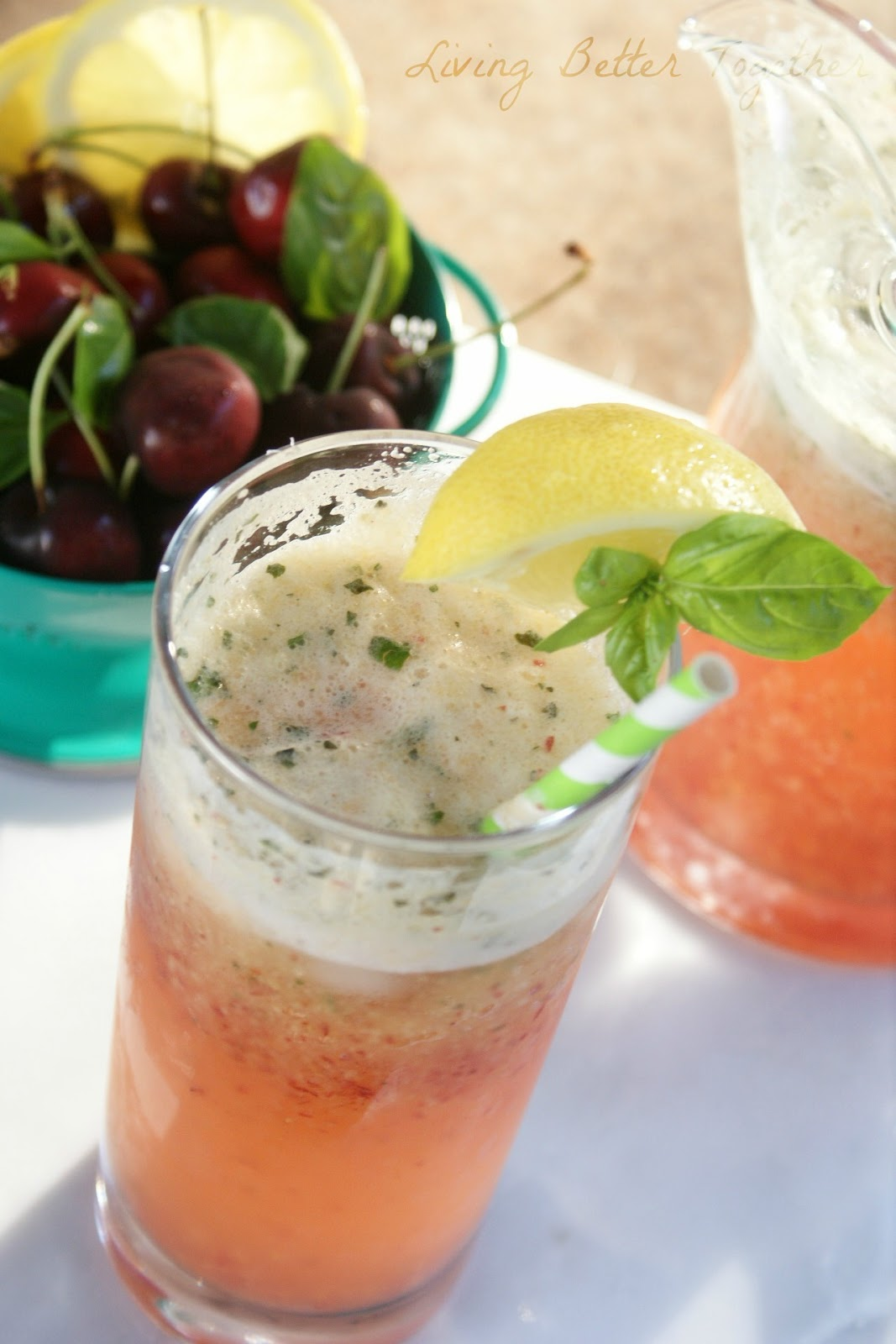 Homemade Cherry Basil Lemon Fizz Recipe