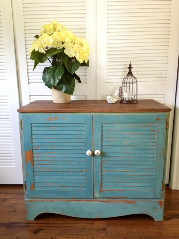 Painting a Shutter Cabinet with Milk Paint