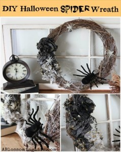 Homemade DIY Ombre Halloween Spider Wreath