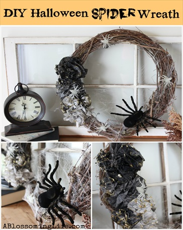 Homemade DIY Ombre Halloween Spider Wreath