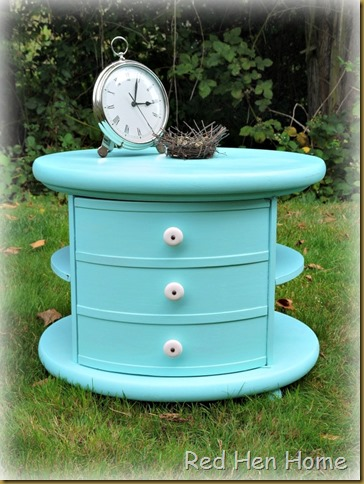 Round Aqua Table  Makeover