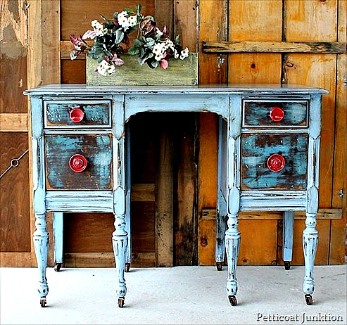 Distressed Dresser with Red Knobs ~ Makeover