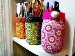 Homemade Mod Podge Fabric Jars Tutorial