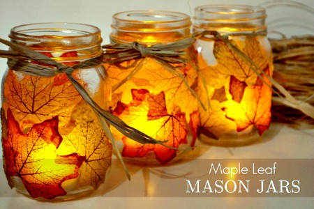 Autumn Leaf Mason Jar Candle Holders