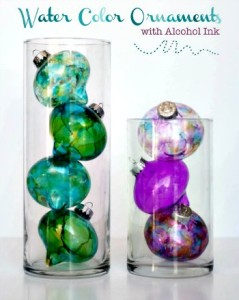 Homemade Water Color Alcohol Ink Ornaments