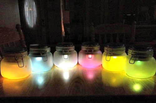 DIY Multi-Colored Solar Lights in Jars