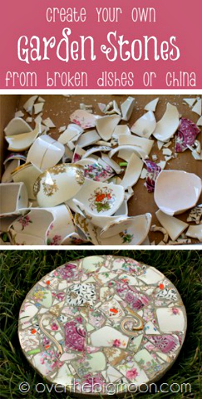 best china garden stone, best broken pottery, garden stones