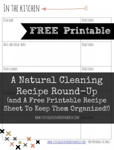 A Natural Cleaning Recipe Round-Up and a Free Printable to Keep Them Organized