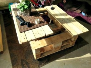 Multifunction Coffee Table With Storage, Slide Out And Lift. Build From Euro Pallets