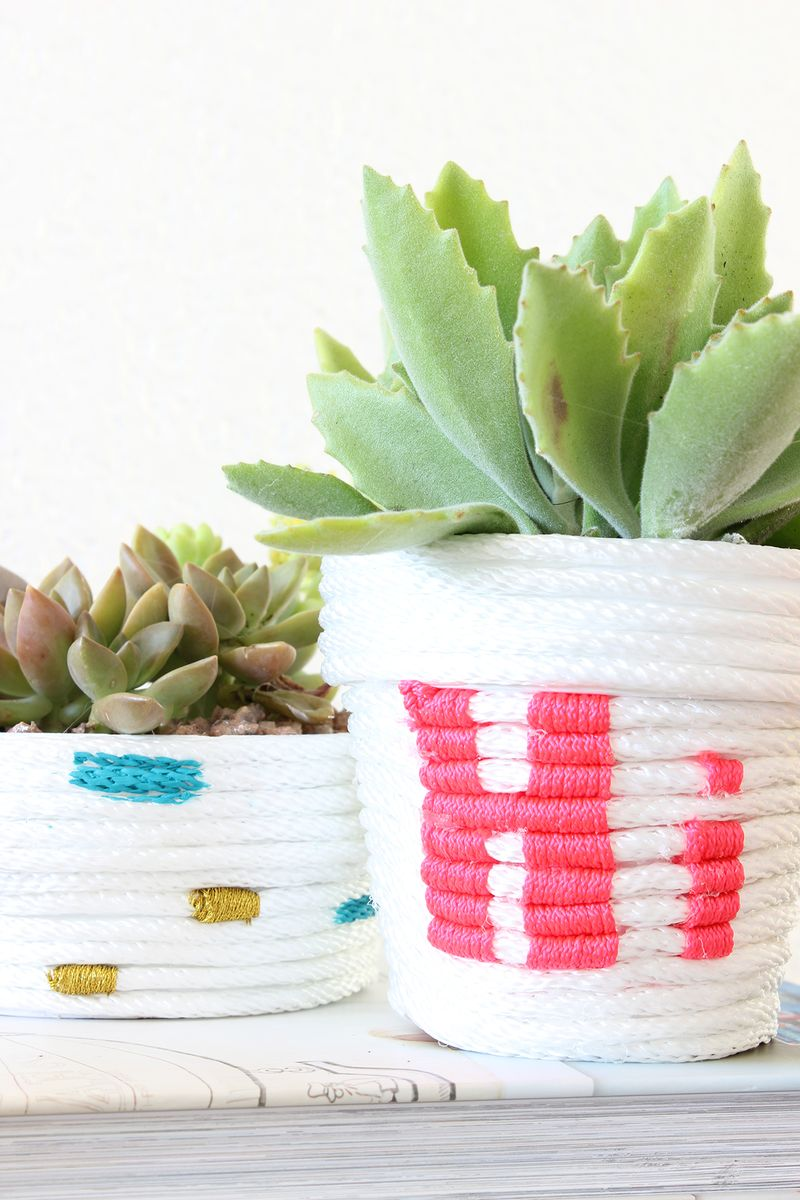 DIY Rope Wrapped Planters